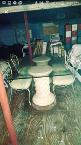 spiral column glass table with 6 chairs antique in Leesville, Louisiana