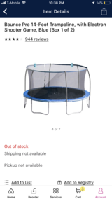 14 foot new trampoline in boxes with electron shooter game in Bolingbrook, Illinois