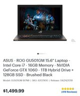 Asus RoG Zephyrus Gaming Laptop in Clarksville, Tennessee