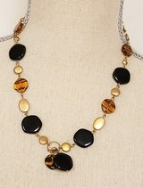 "Black Brown Leopard 18"" Gold Tone Necklace Strand Chain Pendant Flat Bead in Houston, Texas"