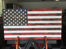 Handcrafted wood American flag in Beaufort, South Carolina