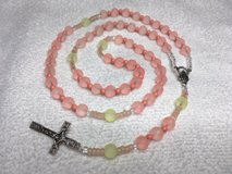 Rosary Pink Jade Beads Accented with Moonstone and Czech Beads Italian Silver Medal and Crucifix... in Kingwood, Texas