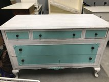 Very old white / turquoise solid Wood Dresser in Westmont, Illinois