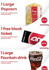 AMC Movie Theater 1 ticket, 1 Large Drink, 1 Large Popcorn in Chicago, Illinois