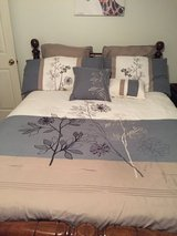 King size comforter plus shams, skirt, throw pillows in Clarksville, Tennessee