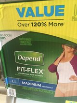 Depend Fit-Flex Womens Lg/maximum package of 38 unopened box in Orland Park, Illinois