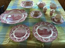 Wedgewood china set, Johnson Brothers Old Britain castles, pink in Westmont, Illinois