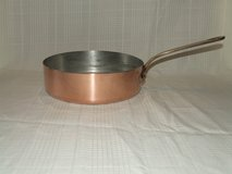 Vintage Copper Saute Pan Tin Lined / Brass or Bronze handle ~ Made in France in Oswego, Illinois