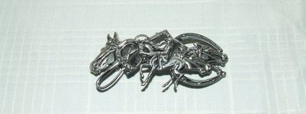 Vintage Horse Equestrian Barrette / Rider Horses Crop Horseshoes Silvertone in Westmont, Illinois