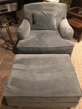 Velour fabric oversized chair and matching ottomon in Lockport, Illinois