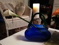 Designer glass vase in shape of a purse in Ramstein, Germany