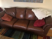 Leather couch in Lockport, Illinois