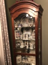 lighted curio cabinet (cherry wood) in Conroe, Texas