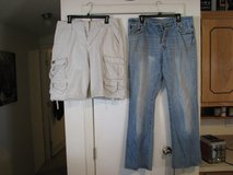 Lee dungaree cargo shorts and Abercrombie and Fitch buttonfly jeans in Alamogordo, New Mexico