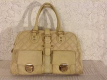 """Kate Landry"" double stitched quilted genuine leather satchel in light cream/champagne tone in Yucca Valley, California"