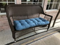 Reduced! Beautiful Resin Wicker Bench with Cushion in Houston, Texas