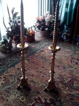Antique Altar Pair of Brass Candlesticks, Tripod Base, Claw Feet, Victorian, Church in Orland Park, Illinois