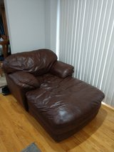 Brown leather chase and sofas in Westmont, Illinois