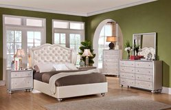Upholstered Queen Bedroom Suit - premium pearl vinyl & diamond tufted in Kingwood, Texas