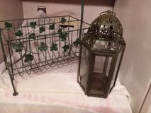 Patio Green Metal Magazine Rack & Lantern in Camp Lejeune, North Carolina