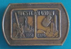 Original vintage 1976 Western Union 125th year brass belt buckle in The Woodlands, Texas