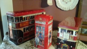 Vintage London  England's Double Decker Bus's & Telephone Booth Tins in Aurora, Illinois