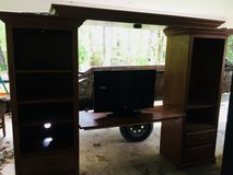 Solid Oak entertainment center with 32 inch tv in Fort Polk, Louisiana
