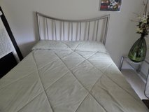 Queen bed frame with Silver headboard, standard metal frame and optional mattress/box spring in Cherry Point, North Carolina