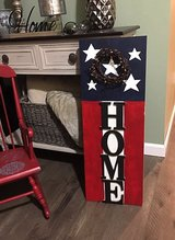 Wood patriotic HOME sign in Plainfield, Illinois