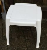 White Plastic Patio Side Table in Chicago, Illinois
