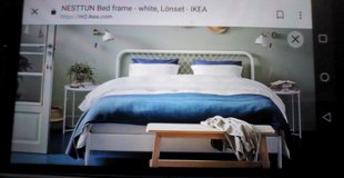 Queen white metal IKEA bedframe NESTTUN 16739 in Yucca Valley, California