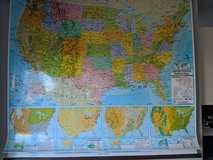 Double USA & World hanging wall map in Chicago, Illinois
