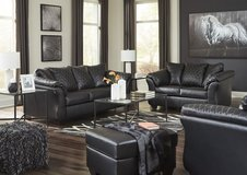 Now on sale beautiful black sofa and loveseat,39.00 down in Wilmington, North Carolina