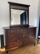 Solid wood dresser and matching night stands and mirror in Stuttgart, GE