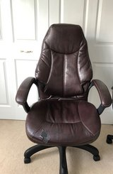 Oversized Tall Back Choclate Faux Desk Chair in Plainfield, Illinois