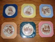 6 Piece Syracuse China Brand Ceramic American History COASTER Complete Set in Orland Park, Illinois
