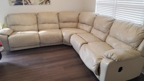 5 Piece Reclining Leather Sectional Couch in Plainfield, Illinois