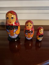Russian hand painted set of 3 nesting dolls in Aurora, Illinois