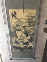Chinese Silk Green Scroll Wall Hanging with Off White and Black Dragon Printed Painting in Cleveland, Texas