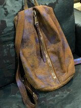 Aimee Kesterberg metallic blue/ brown leathe fashion back pack in The Woodlands, Texas