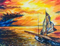 """Acrylic painting on canvas 40 x 50 cm """" Yacht at the pier  """" in Wiesbaden, GE"""