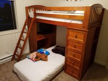Twin bunk bed/loft with desk and shelves in Naperville, Illinois