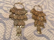 Belly Dancer Earrings Vintage Gold Color Long Lightweight Beautiful French Hooks in Kingwood, Texas