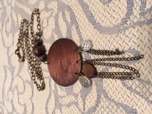 Vintage Piece Brown Wood Crystal and Chains Repurposed into Necklace on Long Bronze Chain in Kingwood, Texas