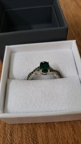 White Gold Emerald and Diamond Ring size 8 in Naperville, Illinois