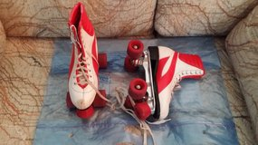Red and White Roller Skates in Westmont, Illinois