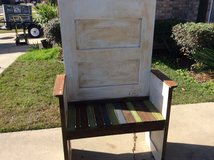 Bench..repurposed old door in Fort Polk, Louisiana