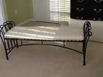 Wrought Iron Bench with cushion in Fairfax, Virginia
