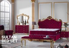 United Furniture - Sultan Bed Set in Bordeaux-Gold with Mattress and Delivery also in Whitee-Silver in Wiesbaden, GE