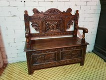 Carved Oak Settle free delivery others available in Lakenheath, UK